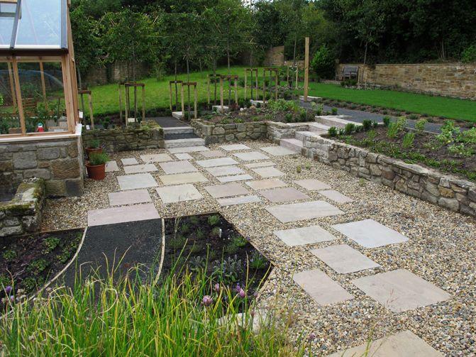 Gravel Garden With Indian Sandstone Slabs Blaydon