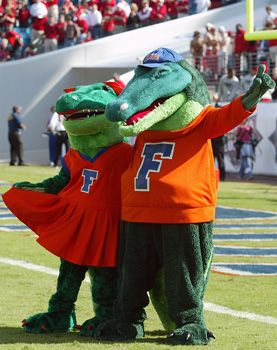 UF mascots Alberta and Albert cheer on the Florida Gators at a football game in the Swamp.
