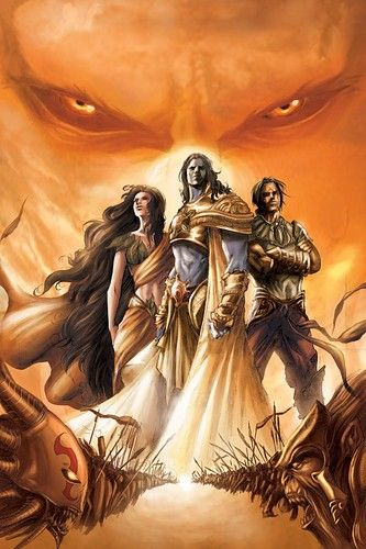 Sita, Rama and Lakshmana at the beginning of the war.