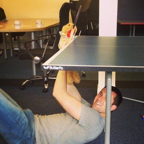 Twitter / boyddigital: Photo: Gordy needed a little help to play table tennis...