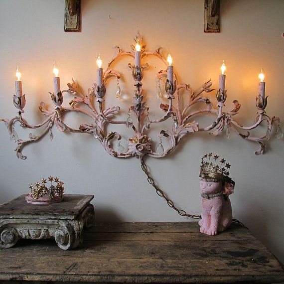 Large Electric sconce lighting French cottage chic tole