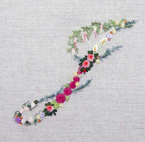 Mille fiori alphabet j embroidery pinterest