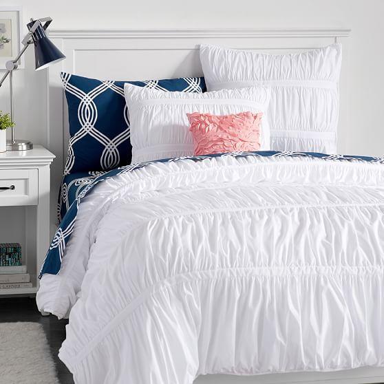 pucker up comforter sham pbteen white and navy ruffle bedding