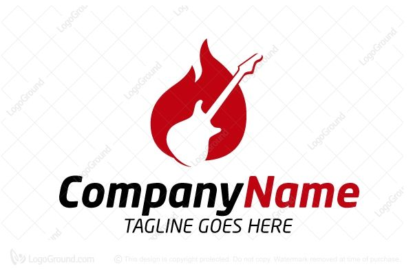Logo for sale: Guitar On Fire Logo