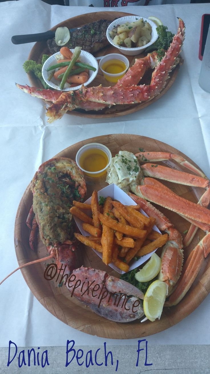 """Sunday dinner at Rustic Inn Crab house. """"Both Feet in The Water"""" with Queen Crab Legs & Sweet Potoato Fries; """"Admiral's Platter"""" with King Crab Legs. #rusticinn #crabhouse #nomnomtravel"""