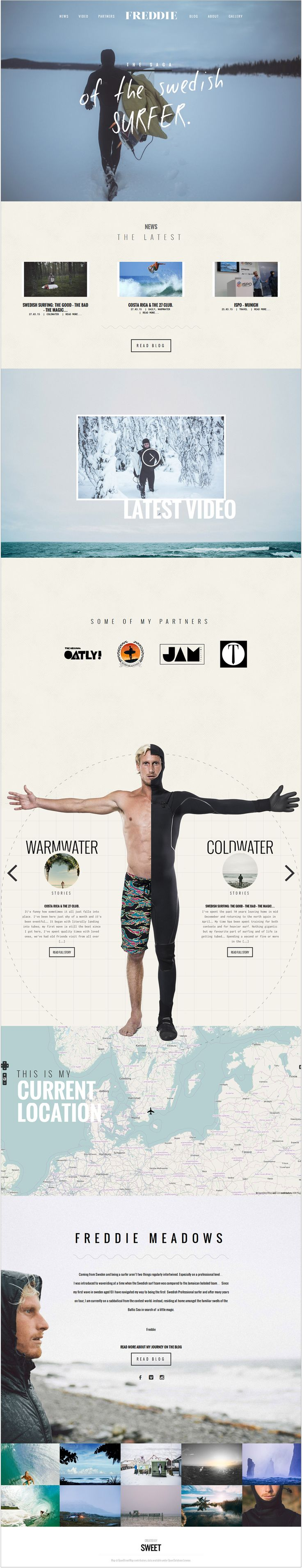 Freddie Meadows. The saga of the Swedish surfer. #webdesign #design (View more at www.aldenchong.com)