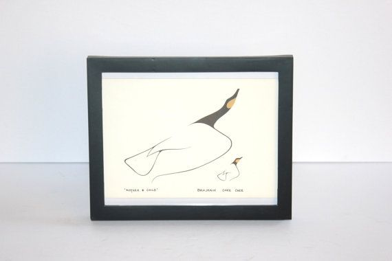 Vintage Benjamin Chee Chee Framed Print, Mother and Child, Birds, 1970, Native American, Canadian, Antique Alchemy on Etsy, $28.19 CAD