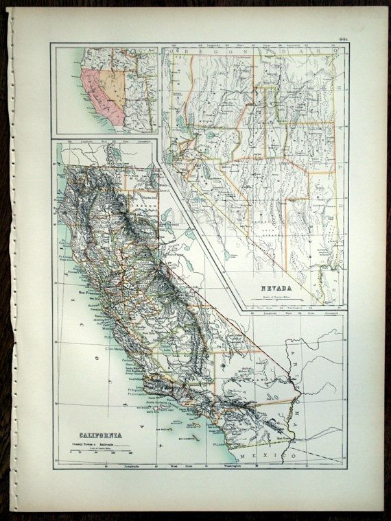 1890 Large Special Library Edition Antique Map of by bananastrudel, $35.00