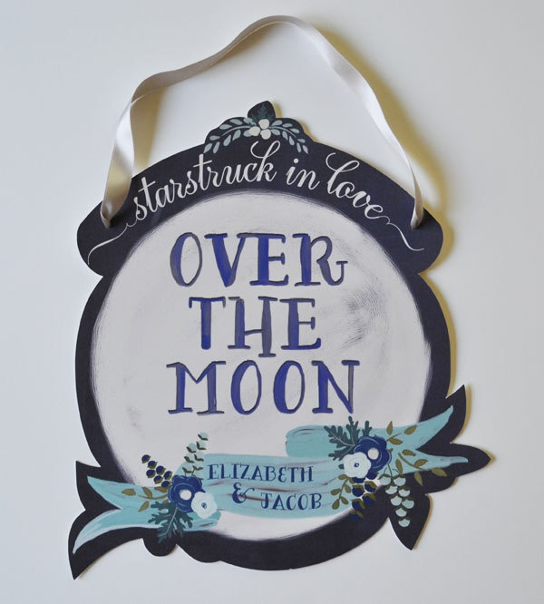 Over the Moon Wedding Sign-Custom Names-Midnight Blues.