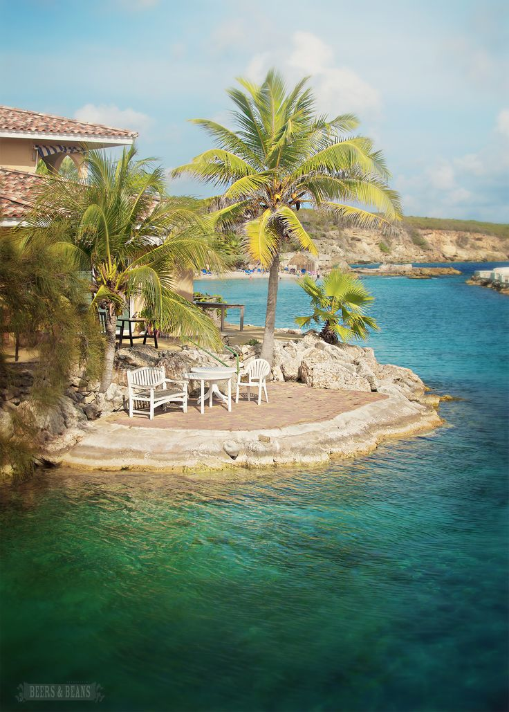 Beach front island patio in Dutch Curacao