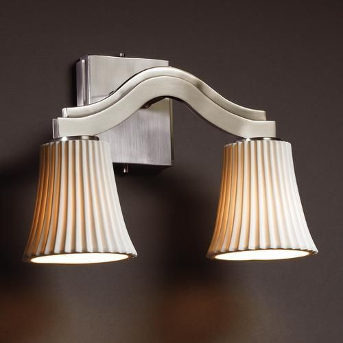 Bend 2-Light Wall Sconce (Style 2) : POR-8975-28-PLET-MBLK | Lighting Emporium bedroom