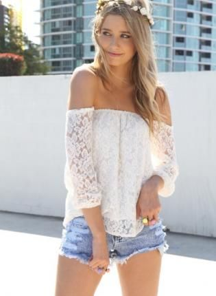 White Lace Off The Shoulder Top With Sheer Sleeves Top