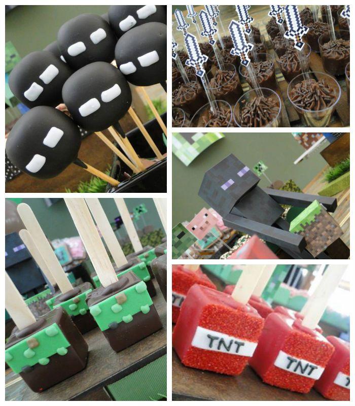 Minecraft themed birthday party via Kara's Party Ideas KarasPartyIdeas.com Favors, printables, cake, decor, recipes, games, and MORE! #minecraft #boypartyideas