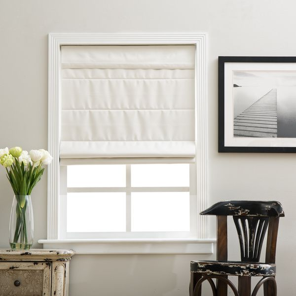 Arlo Blinds Ivory Cordless Fabric Roman Blackout Shade By