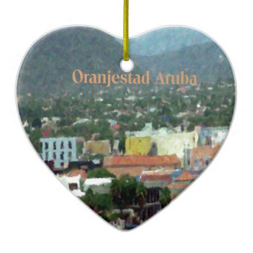 """Watercolor of Oranjestad Aruba"" Christmas Tree Ornament by Khoncepts.com"