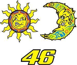 Stickers Valentino ROSSI - 46 Lune & Soleil - Moon & Sun | eBay