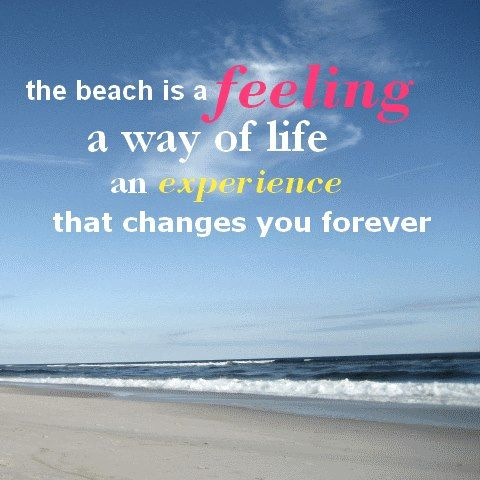 I love the beach. It's like no other place and I feel so alive when I'm there!