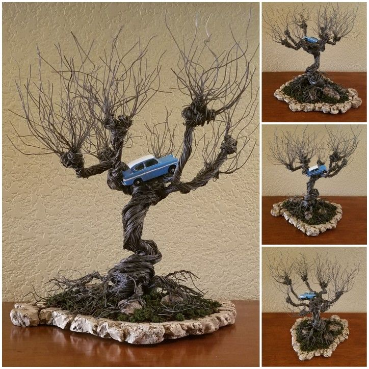 Diy Harry Potter Whomping Willow Wire Tree With Flying Ford Anglia