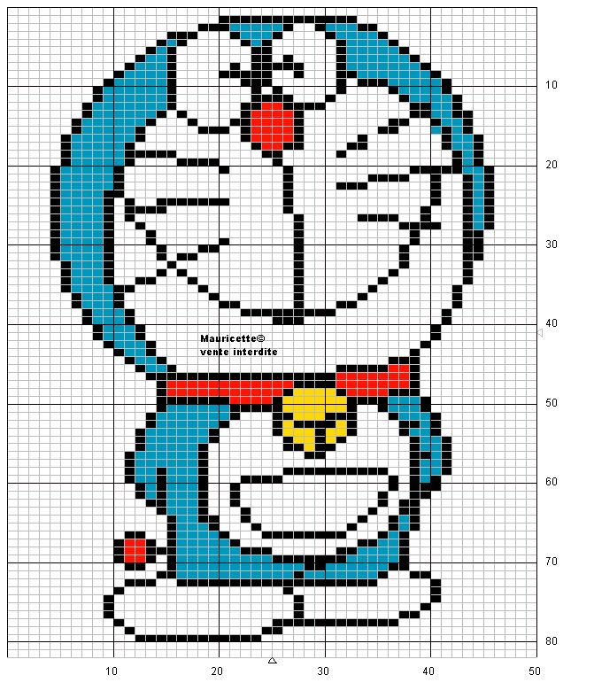 Doraemon hama perler beads pattern by Mauricette