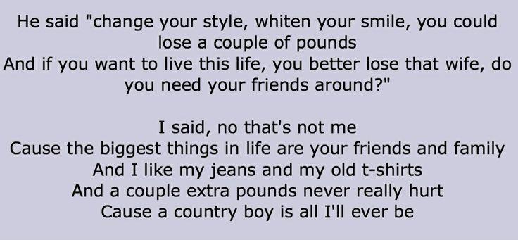Lyrics from aaron lewis' country boy.