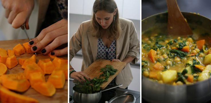 Favoriete recept van Erika: vegan stoofpotje met pompoen, spinazie en kikkererwten