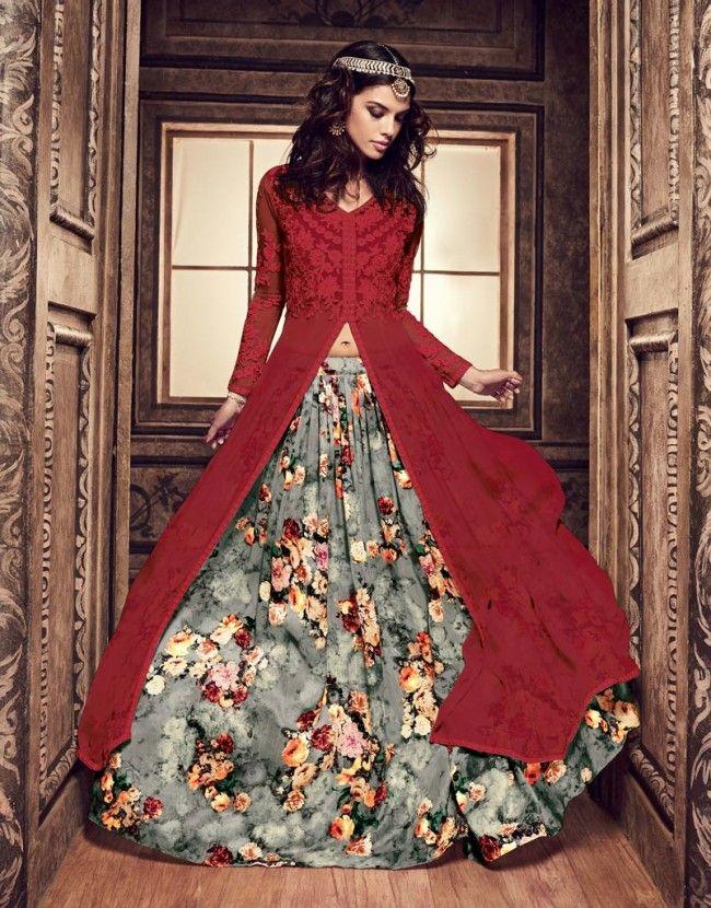 Wedding Flares Red And Grey Georgette Printed Salwar Suit