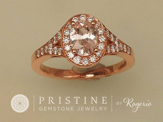 http://rubies.work/1014-citrine/ Pink Peach Champagne Sapphire Engagement Ring Rose Gold Split Shank Diamond Halo Ring Wedding Ring Anniversary