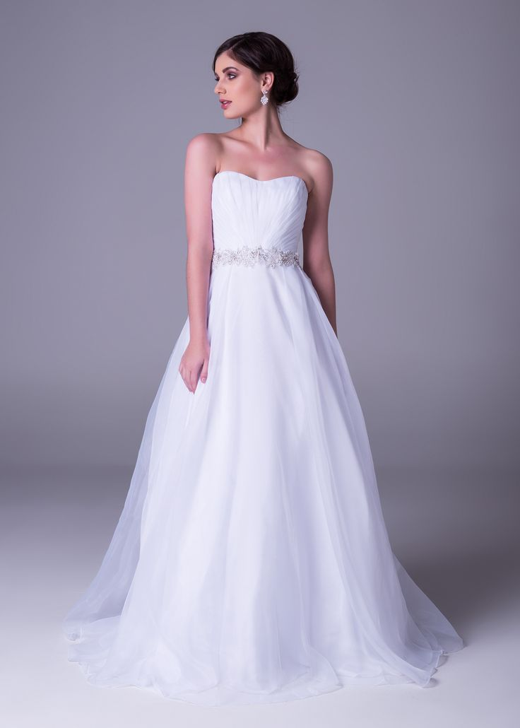Strapless ballgown with embellished sash