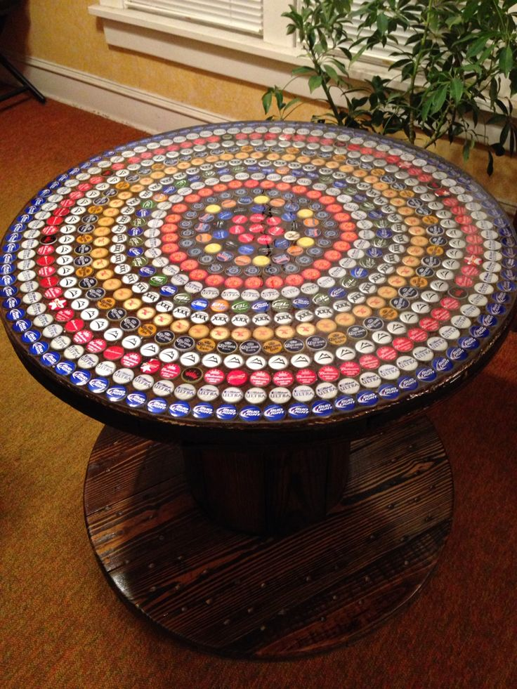 Spool Beer Cap Epoxy Resin Table For The Home In 2019