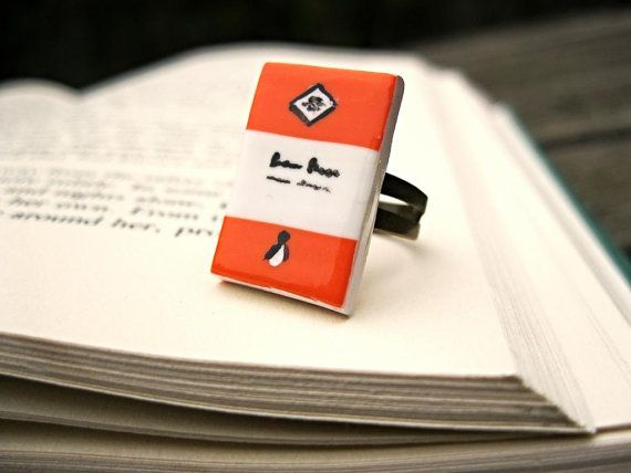 Orange Penguin Book Ring (Made to Order) - Book Jewelry by Coryographies