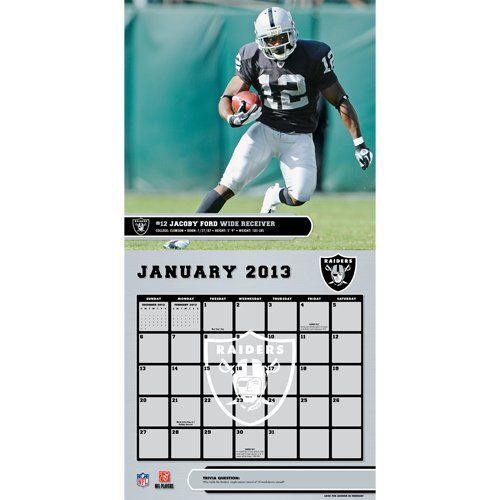 Perfect Timing - Turner 12 X 12 Inches 2013 Oakland Raiders Wall Calendar (8011290) by Perfect Timing - Turner. Save 46 Off!. $8.65. Showcase the stars of your favorite team with this rousing team wall calendars. Player action and school photos with player bio information.