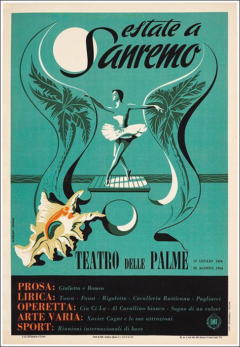 Sanremo - Riviera dei Fiori - Liguria  manifesto vintage  #essenzadiriviera