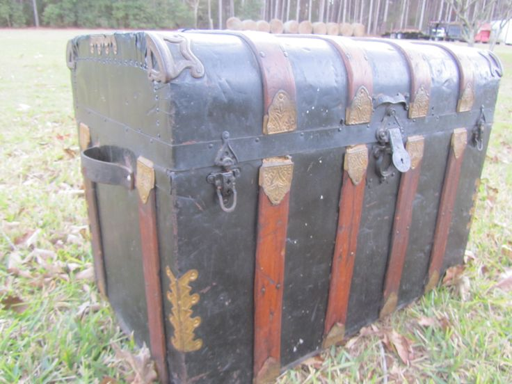 Antique Trunk, Flat Top Trunk, chest, storage box, farmhouse decor, rustic cabin decor, metal trunk with wood trim by KarensChicNShabby on Etsy