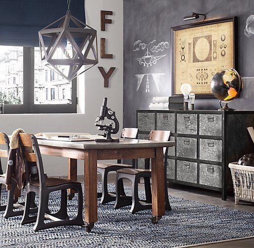 vintage meets industrial playroom