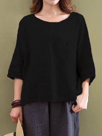 Casual Women Pure Color Pocket 3/4 Sleeve Cotton Tops at Banggood