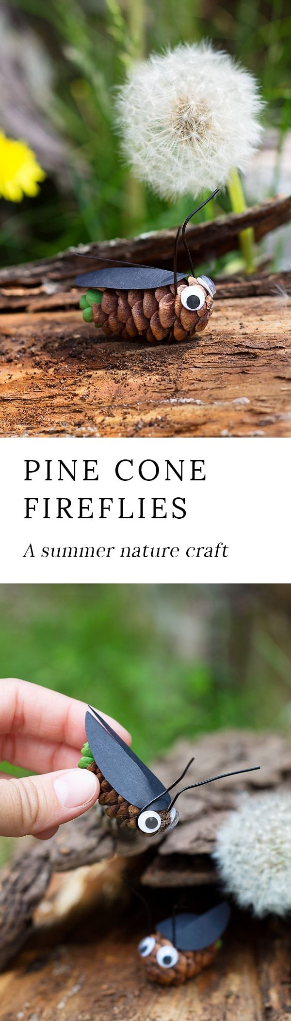 Pine Cone Fireflies: A Summer Nature Craft for Kids via @https://www.pinterest.com/fireflymudpie/