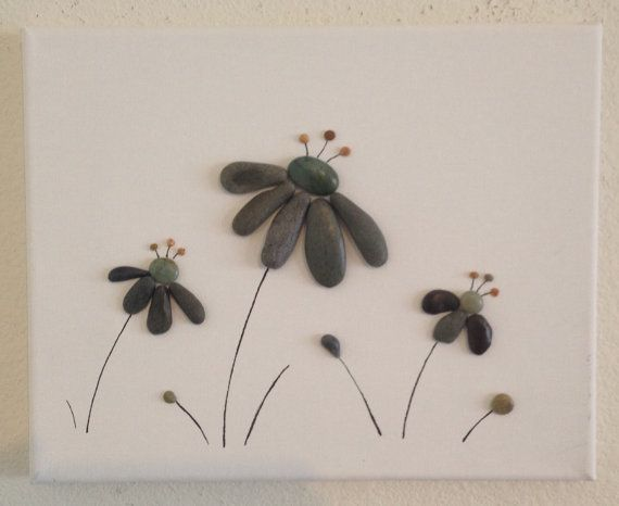 Pebble Art/ Flowers/ Canvas Art/ Beach Decor/ Home Decor/ Pen Drawing/ Mixed Media Art