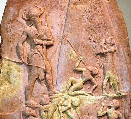Victory Stele of Naram-Sin,[28] celebrating victory against the Lullubi from Zagros 2260 BC. He is wearing a horned helmet, a symbol of divinity, and is also portrayed in a larger scale in comparison to others to emphasize his superiority.[29] Brought back from Sippar to Susa as war prize in the 12th century BC.