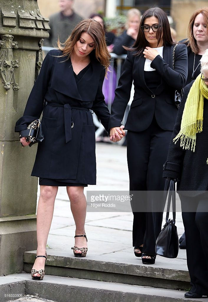 Coronation Street actors Kym Marsh (R) and Alison King arrive for the funeral of Coronation Street scriptwriter Tony Warren at Manchester Cathedral on March 18, 2016 in Manchester, England.