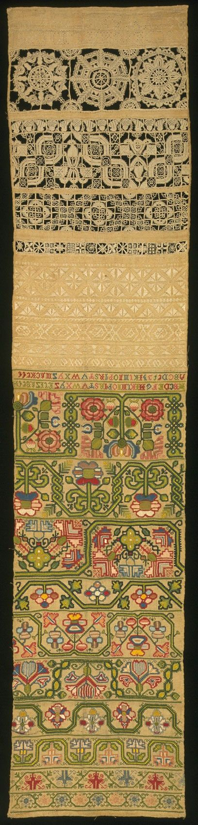 Linen sampler embroidered with silk and linen, by Elizabeth Mackett, England, 1696. Museum no. 433-1884 Victoria and Albert Museum
