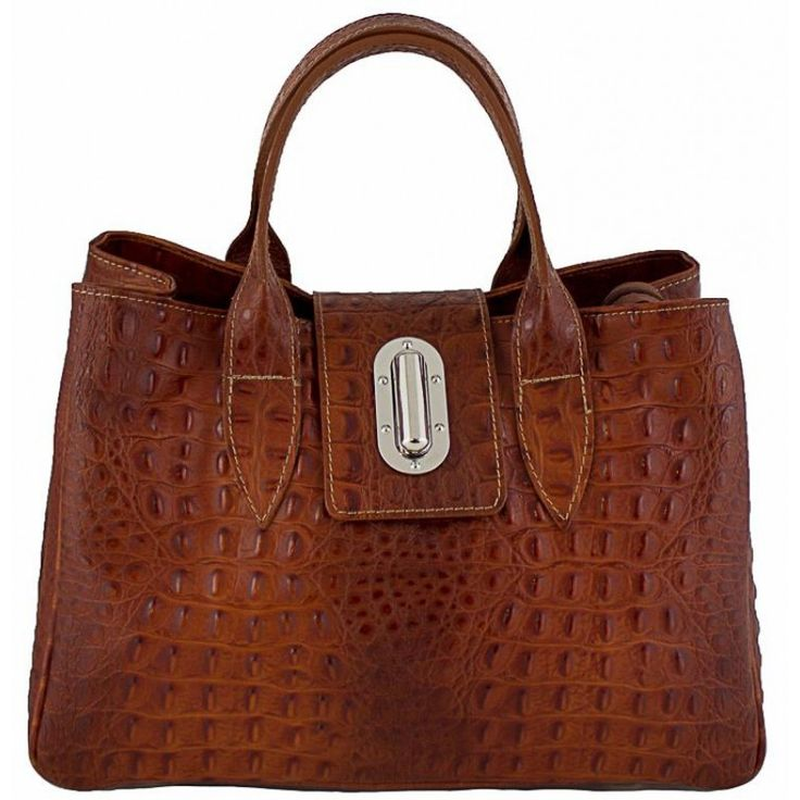 Italian Made, Genuine Leather Handbag - Lara Brown Sky