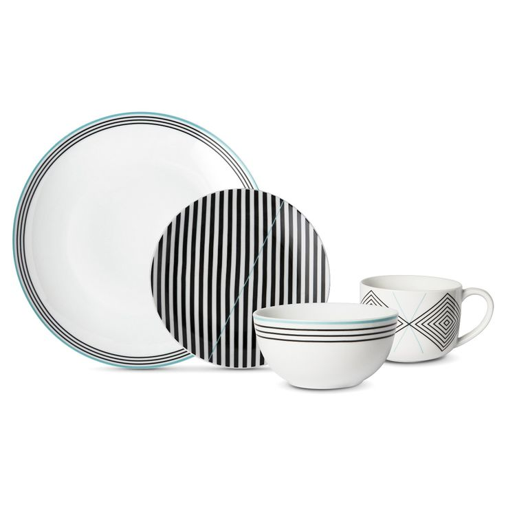 Set the table in style with this Cheeky® Memphis 16-piece porcelain dinnerware set. Great for everyday use, this modern yet classic black and teal set includes 4 mugs, 4 bowls, 4 salad plates, and 4 dinner plates. Dishwasher and microwave safe.<br><br>Make mealtime matter. With every set you buy, Cheeky will help donate 16 meals* (one meal for every item) to someone who needs it right here in the U.S. through our partnership with Feeding America®. <br>*For ...