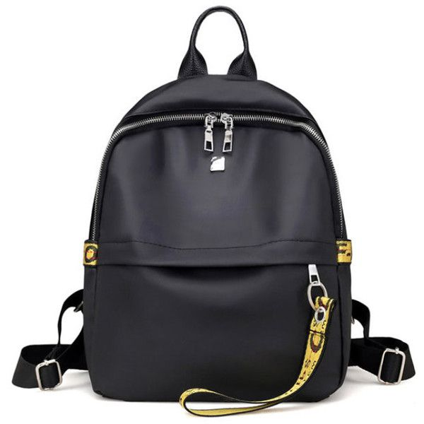 Double Zipper Strap Decorated Backpack (108.225 IDR) ❤ liked on Polyvore featuring bags, backpacks, daypack bag, strap bag, double zip backpack, double zip bag and embellished bags