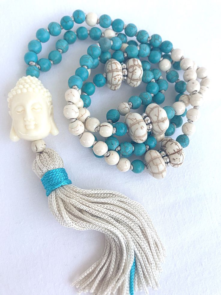 Buddha Mala Necklace, Turquoise White Howlite Necklace, Boho Tassel Necklace, 108 Mala Beads, Yoga mala, Buddhist Necklace, Prayer Necklace by Katiaicrafts on Etsy