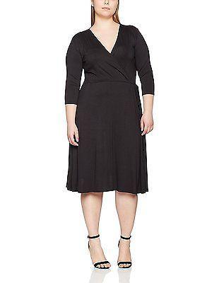 18, Black (Black), Dorothy Perkins Curve Women's Wrap Self-Tie Dress NEW