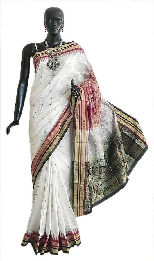 White Bomkai Orissa Silk Saree with All-Over Boota with Border and Gorgeous Pallu (Silk))