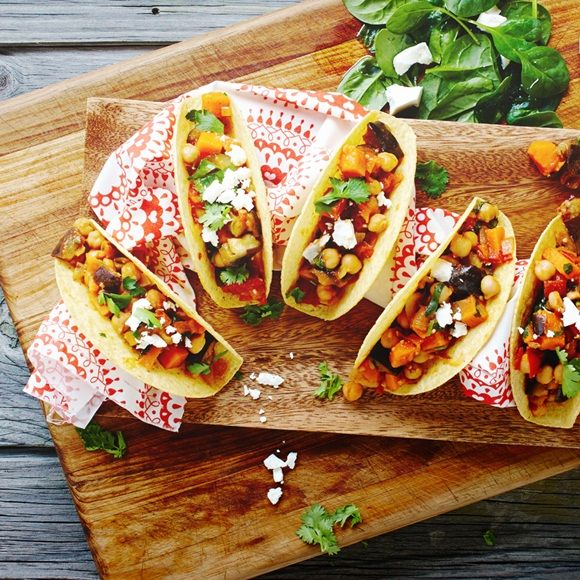 A Mexican vegetarian delight for lunch or dinner – just add fresh ingredients like eggplant, chickpeas and crumbled feta cheese!