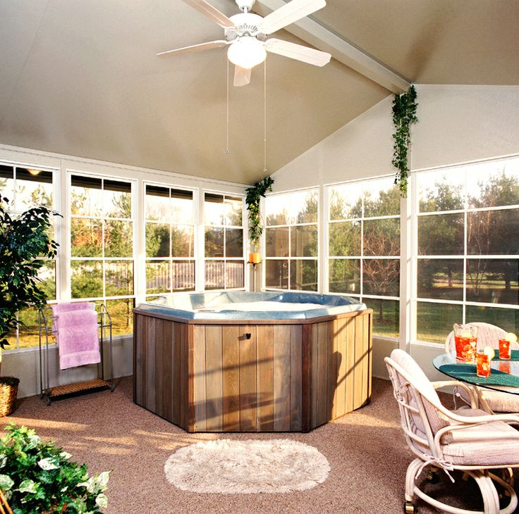Jacuzzi In The Living Room: 10 Best Images About Hot Tub Sunroom Ideas On Pinterest