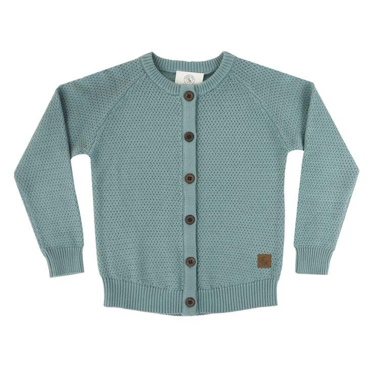 Bamse Cardigan Støvgrønn 110 - Gullkorn Design