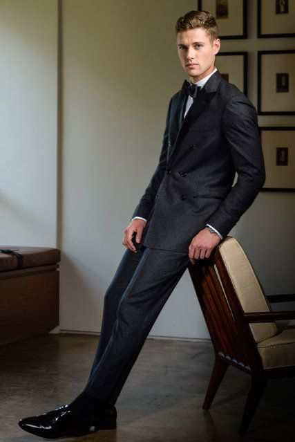 A cashmere double-breasted tuxedo in charcoal gray, by Brunello Cucinelli. Photo by Andrew Giammarco for The New York Times, Stylist: Courtney Jo Barnes